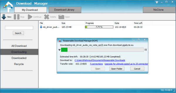برنامج Reasonable Download Manager