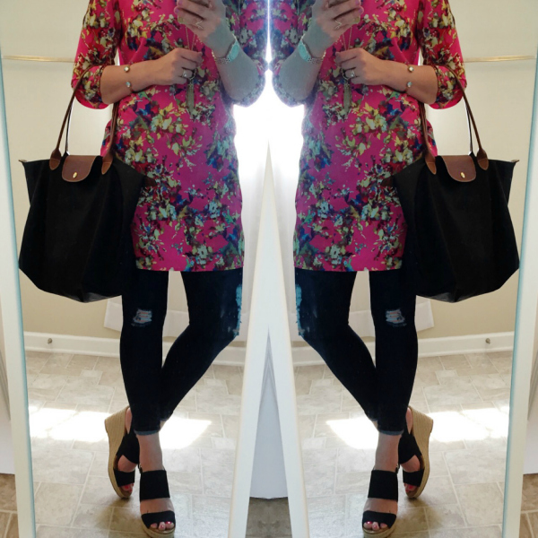 spring style, black wedges, floral dress