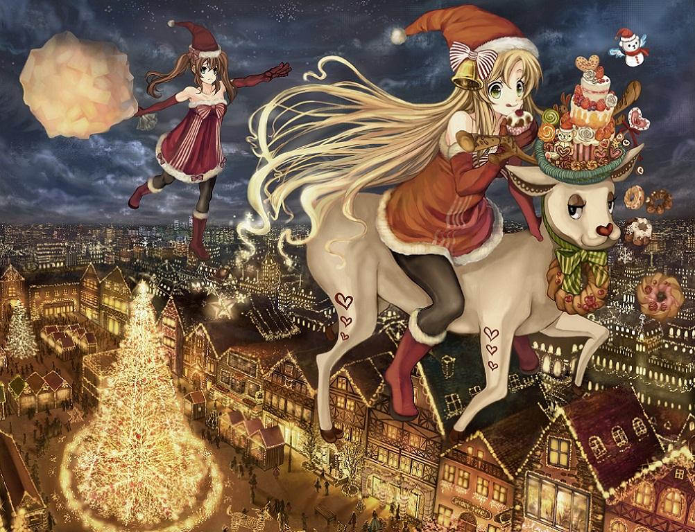 Anime Weihnachten Bilder.Hintergrundbilder Frohe Weihnachten