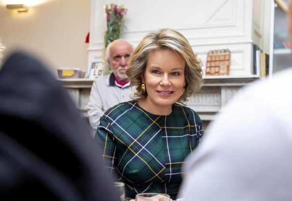 Queen Mathilde. Natan outfit. NATAN Fall Winter 2019 Collection. Natan is a fashion house founded by Edouard Vermeulen