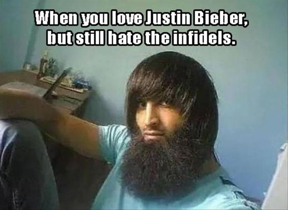 When you love Justin Bieber, but still hate the infidels.