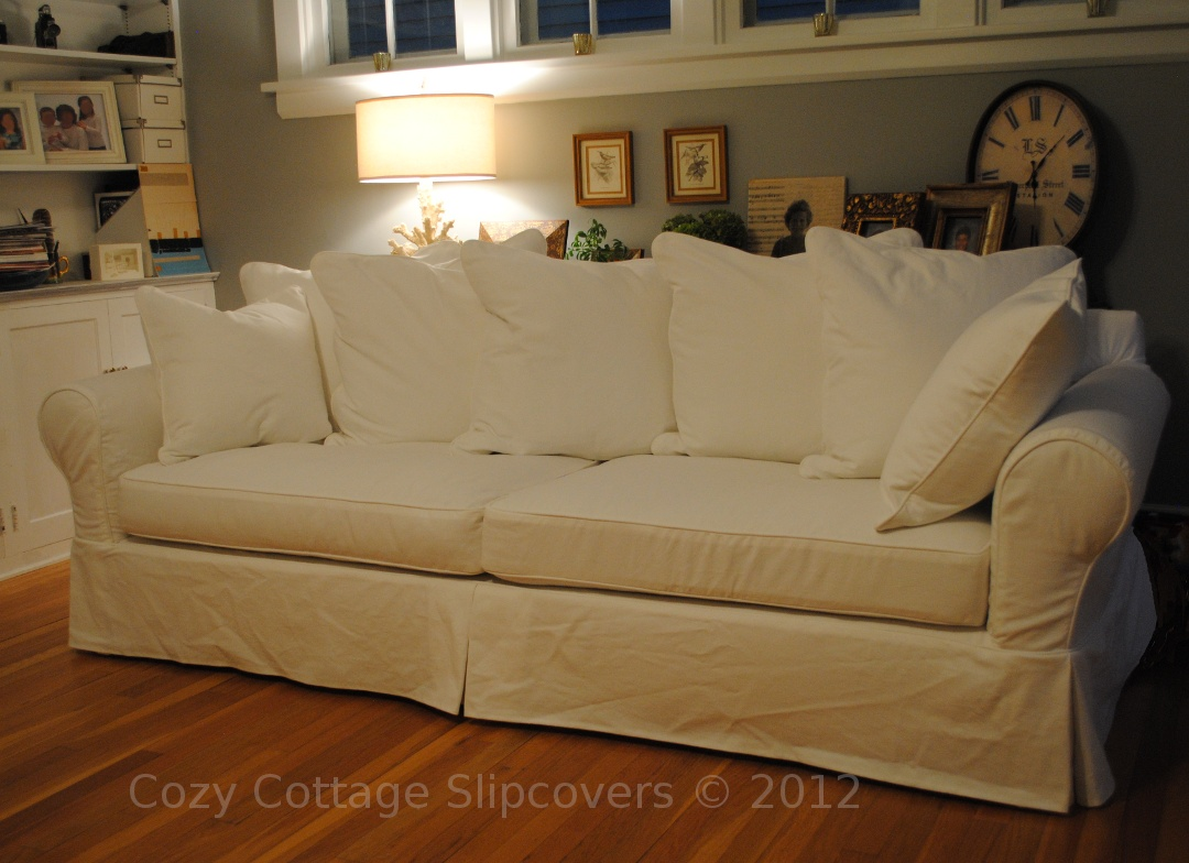 how much fabric to make a sofa cover queen bed dimensions cozy cottage slipcovers pillow back slipcover