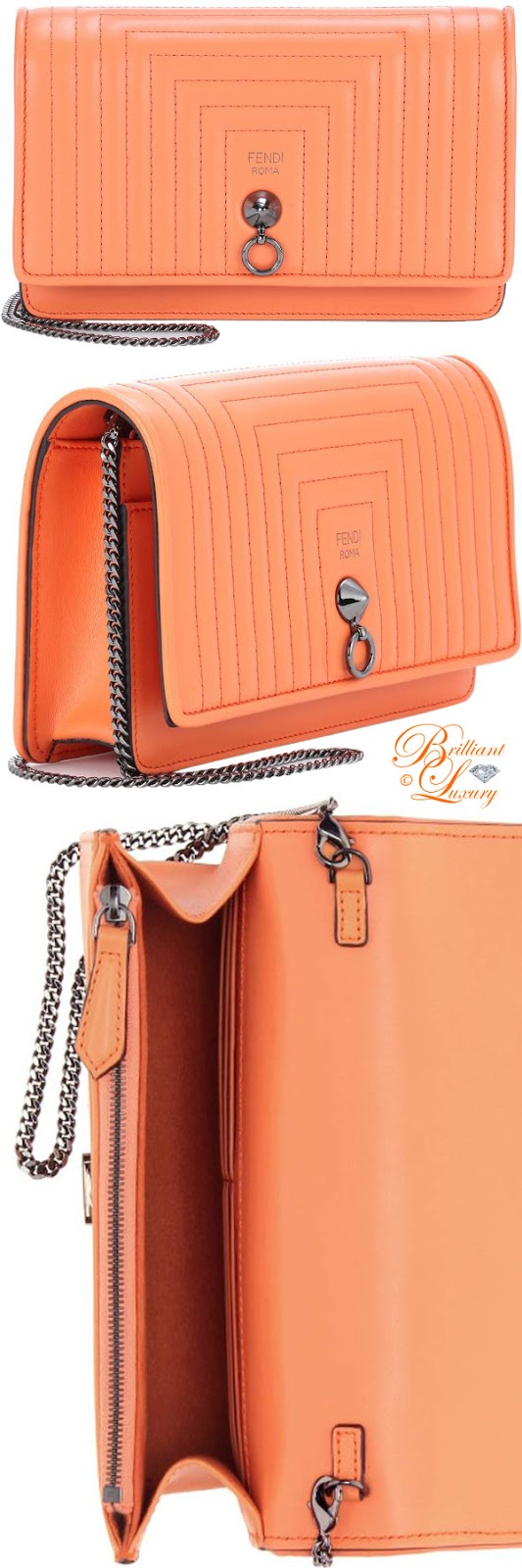 Brilliant Luxury ♦ Fendi small flap leather shoulder bag #orange