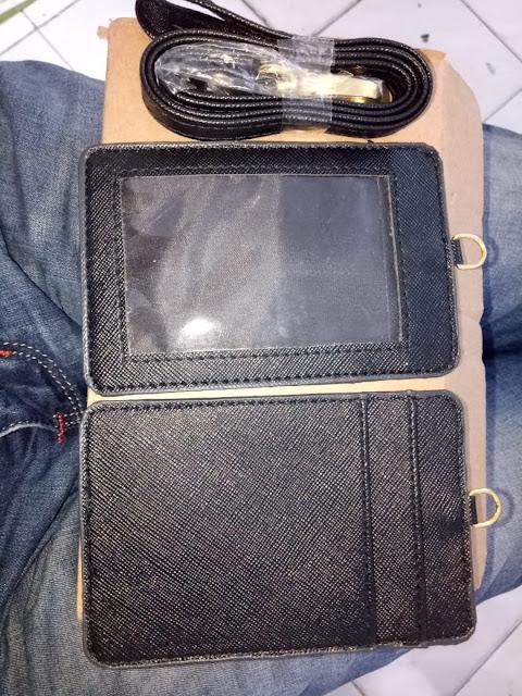 Tali lanyard kulit dan card holder kulit polos