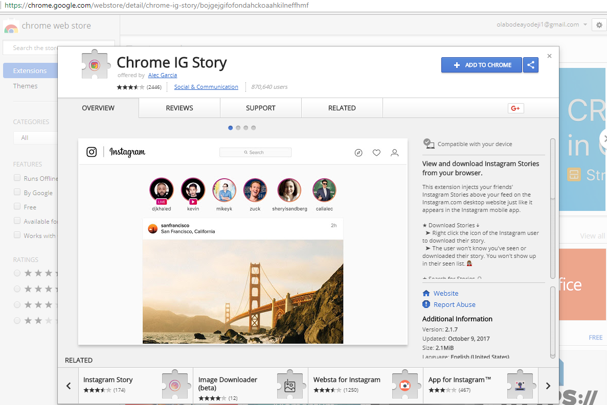 How to download instagram stories picture and video like a zip after adding this extension to chrome browser you notice the icon at the top right hand side close to the address bar then log in to instagram account ccuart Choice Image