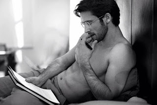 hot, alpha male, sexy, shirtless, reading, man candy