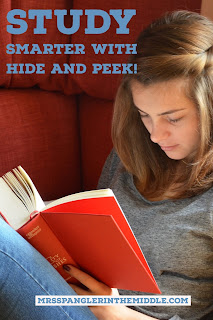 "Middle School and High School Students can study better and more effectively for exams and for tests with this special idea called ""Hide and Peek"".  #howtostudy #study #teaching"