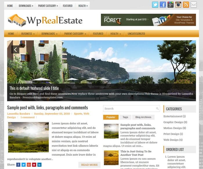 WpRealEstate Blogger Template has a Slider Free Download WpRealEstate Blogger Template