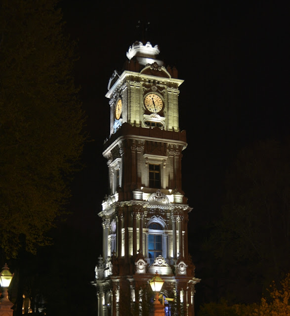 Dolmabahce Palace Tower by night