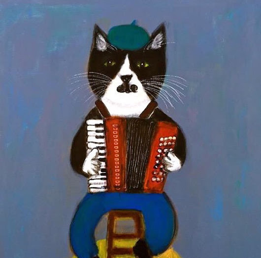 "New Painting. ""Red Accordionist Cat"""