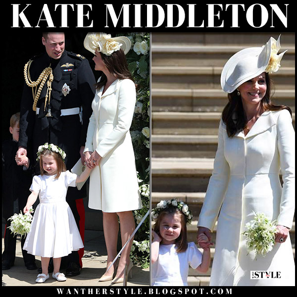 Kate Middleton in light yellow tailored coat alexander mcqueen harry and meghan's wedding royal fashion may 19