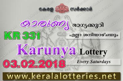 Kerala Lottery Results  3-Feb-2018 Karunya KR-331 www.keralalotteries.net