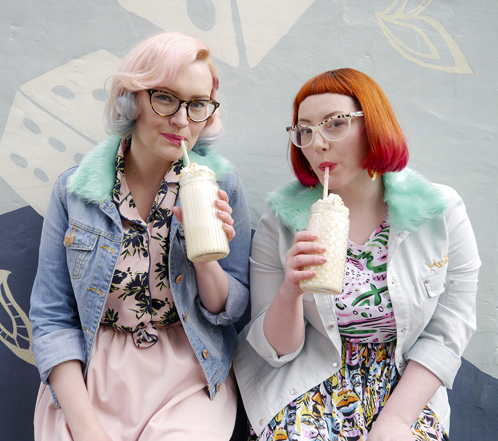 blog birthday, blogging duo, Edinburgh bloggers, Scottish bloggers, blogger style, Edinburgh street style, colourful style, clashing prints, pink hair, dip dye, red hair, ginger, girls who wear glasses, Monki style, customised denim jackets, milkshakes, Rollershakes, Hawaiian shirts, faux fur, ice cream cone graffiti, Edinburgh street art, colourful wall art, milkshakes, drinking milkshakes, milkshake recipes