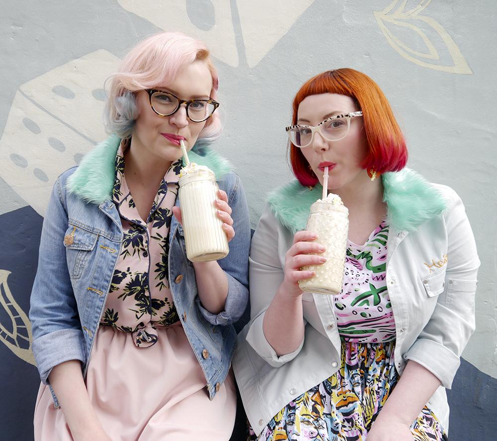blog birthday, blogging duo, Edinburgh bloggers, Scottish bloggers, blogger style, Edinburgh street style, colourful style, clashing prints, pink hair, dip dye, red hair, ginger, girls who wear glasses, Monki style, customised denim jackets, milkshakes, Rollershakes, Hawaiian shirts, faux fur, ice cream cone graffiti, Edinburgh street art, colourful wall art, milkshakes, drinking milkshakes, milkshake recipes