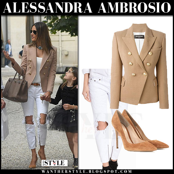 Alessandra Ambrosio in beige balmain blazer, white jeans and suede gianvito rossi pumps what she wore streetsyle