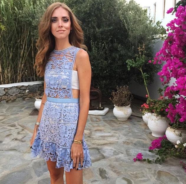 Chiara Ferragni Self-Portrait Powder Blue Lace Mini Dress
