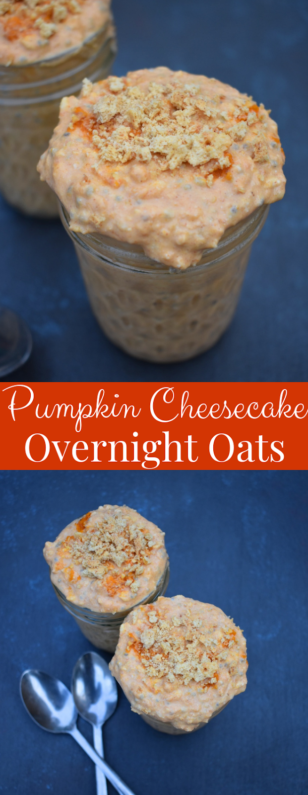 Pumpkin Cheesecake Overnight Oats are super creamy and taste like your favorite dessert but are healthy with oats, Greek yogurt, pumpkin and collagen peptides! Loaded with swirls of cream cheese, pumpkin spice and graham crackers for that true cheesecake flavor. www.nutritionistreviews.com #oatmeal #oats #overnightoats #breakfast #healthy #cleaneating #pumpkin #cheesecake