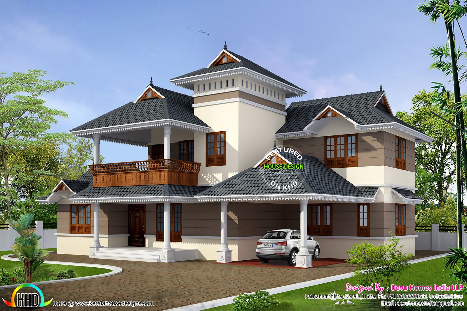 Traditional house with modern mix kerala home design and for Contemporary style home plans