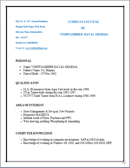 Sports Resume Format Template Resume Format For Iti Electrician