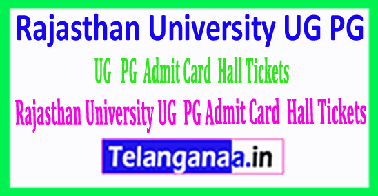 Rajasthan University UG PG Admit Card / Hall Tickets Download 2018