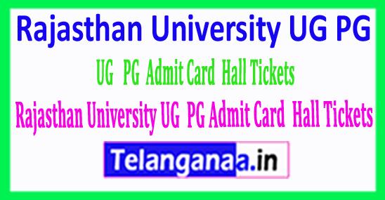 Rajasthan University UG PG Admit Card / Hall Tickets Download 2018