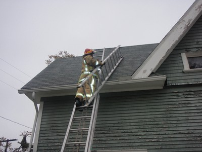 Flames In The Smoke Ventilation Roof Ladders