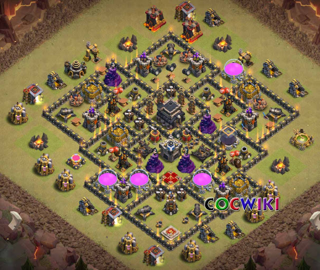 coc town hall 9 war base anti 3 stars