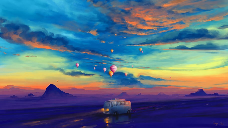 Colorful, Scenery, Van, Hot Air Balloon, Illustration, Digital Art, 4K, #4.1997