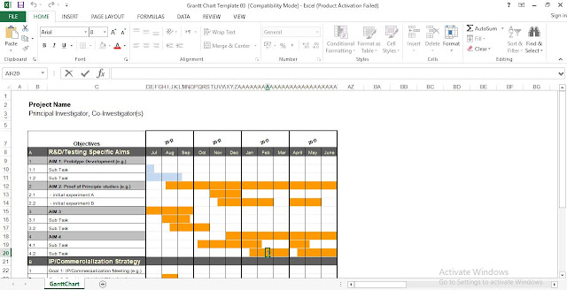 Free Gantt Chart Excel Template Engineering Management