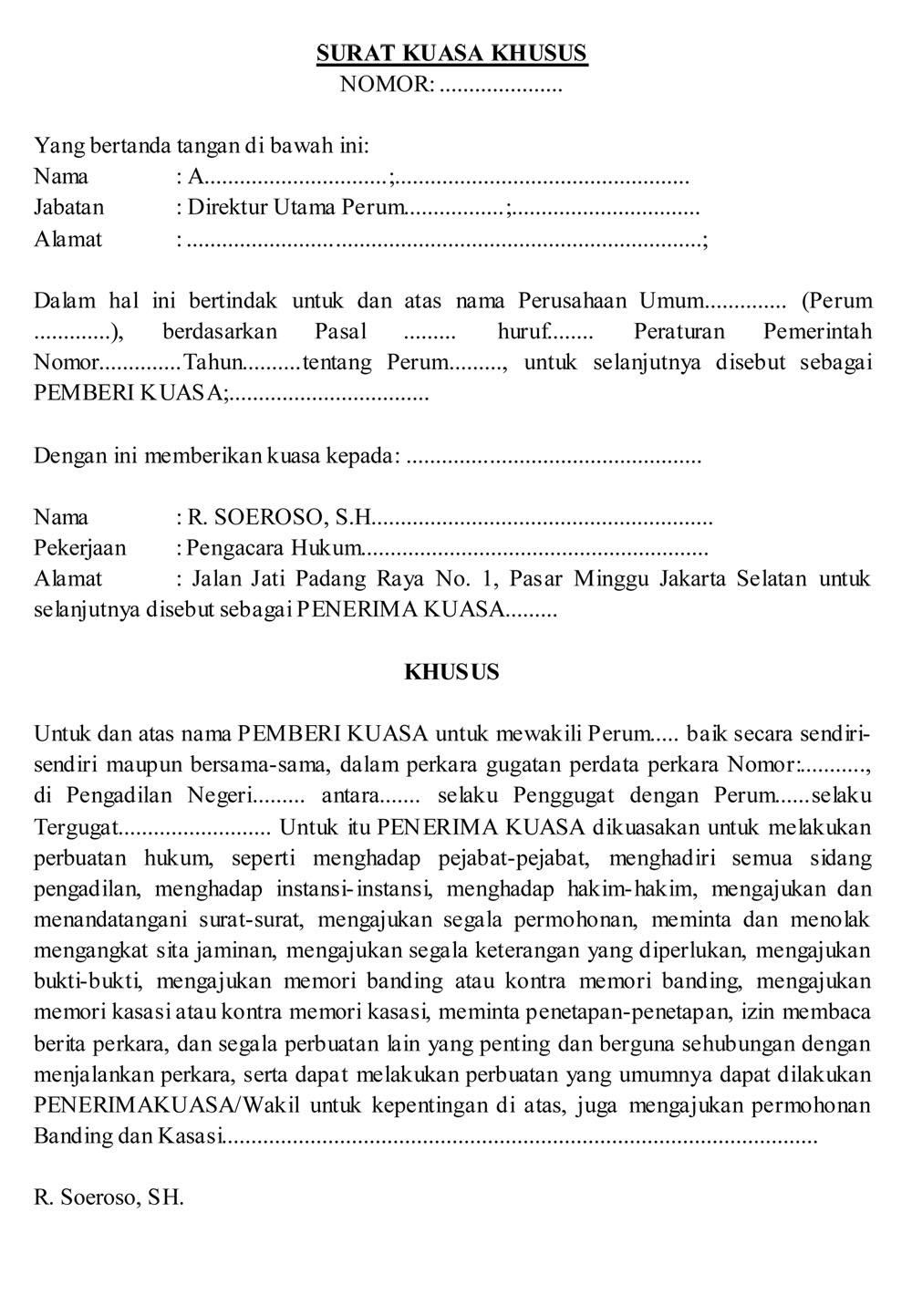 surat kuasa khusus dalam perkara gugatan perdata