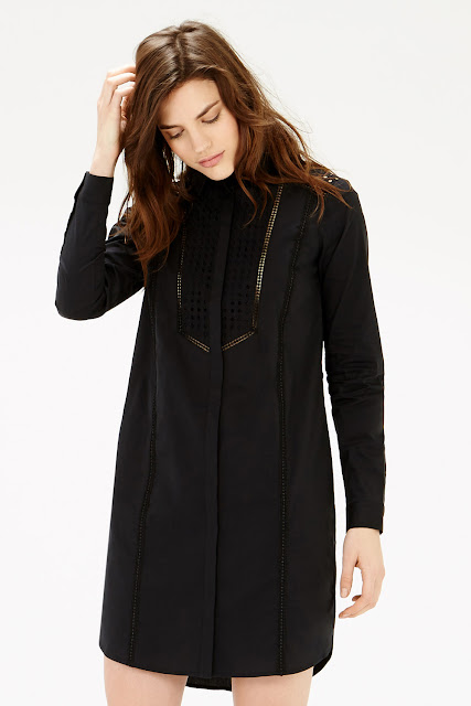 warehouse black shirt dress, black broderie shirt dress,