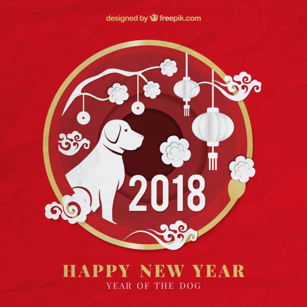 Chinese new year background with paper shapes Free Vector
