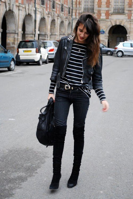 abbinamento stivali over the knee e jeans aderenti come abbinare gli stivali ai pantaloni abbinamento stivali e pantaloni skinny jeans and over the knee boots skinny jeans and cuissardes tendenze inverno 2017 winter trend street style