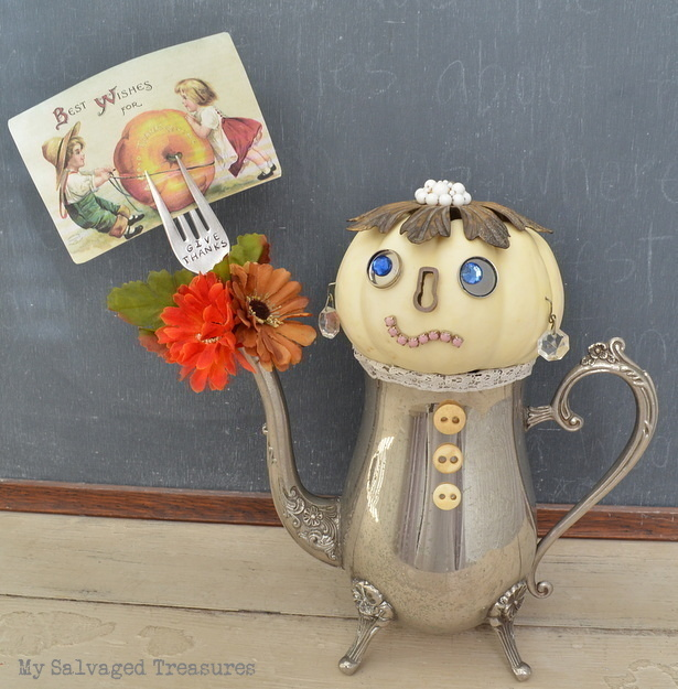 create a one-of-a-kind whimsical pumpkin person with vintage bits and pieces