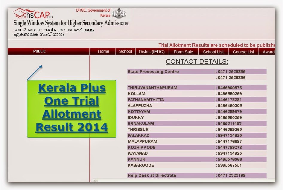 kerala plus 1 trial allotment result