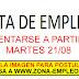 EMPLEOS PARA PRESENTARSE A PARTIR DEL 21/08