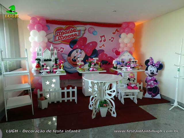 Decoração infantil Minnie Rosa para festa de aniversário feminino