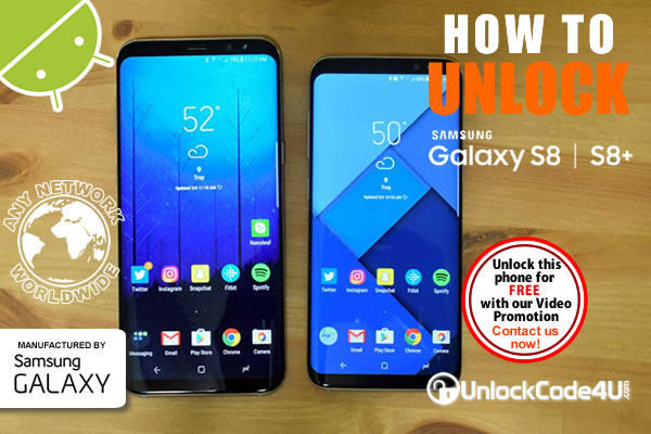 Factory Unlock Code Samsung Galaxy S8 and S8+