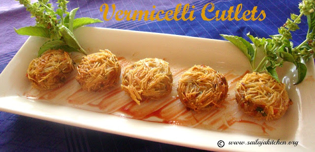 images of Vermicelli Cutlet Recipe / Vermicille And Vegetable Cutlets Recipe / Semiya Cutlet