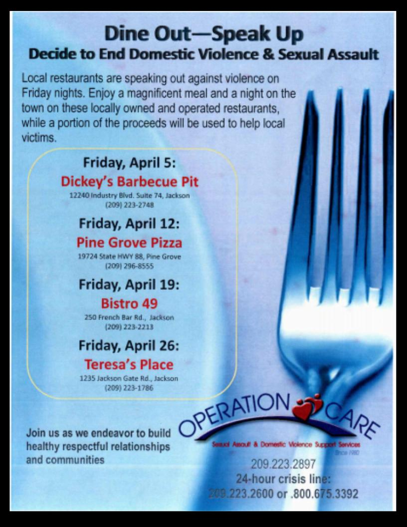 Operation Care: Dine Out, Speak Up - April 2019