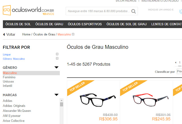 812f1b5c8fb0d A Óculos World é outra Loja com bastante opção de Óculos de Grau Masculino,  gostei bastante do sistema de Busca Filtro deles, bem intuitivo, ...