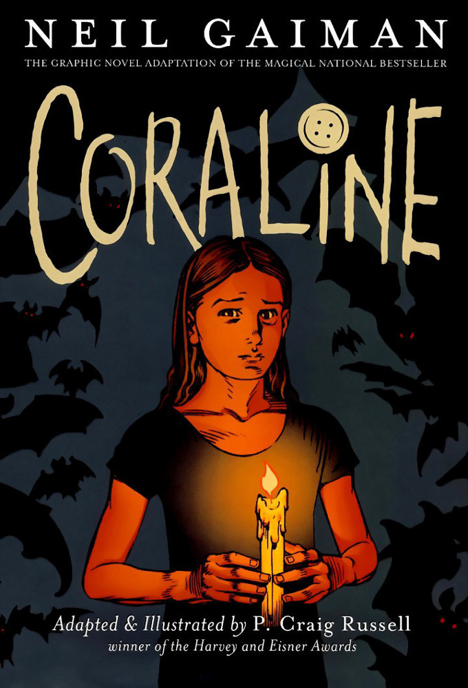 Read cover page from Nail Gaiman and P. Craig Russell's Coraline graphic novel