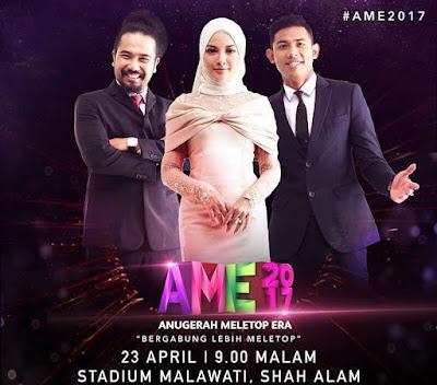 Anugerah Meletop Era 2017, AME2017, Hos, Pengacara, Johan, Neelofa, Nabil, Lofattah, Fattah Amin,