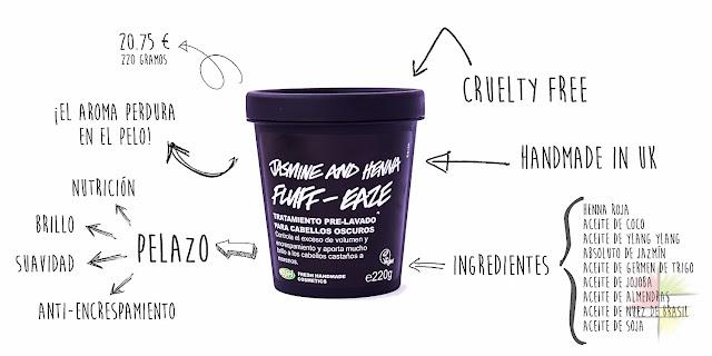 Jasmine and Henna Fluff-Eaze de Lush, tratamiento pre-lavado para cabellos oscuros