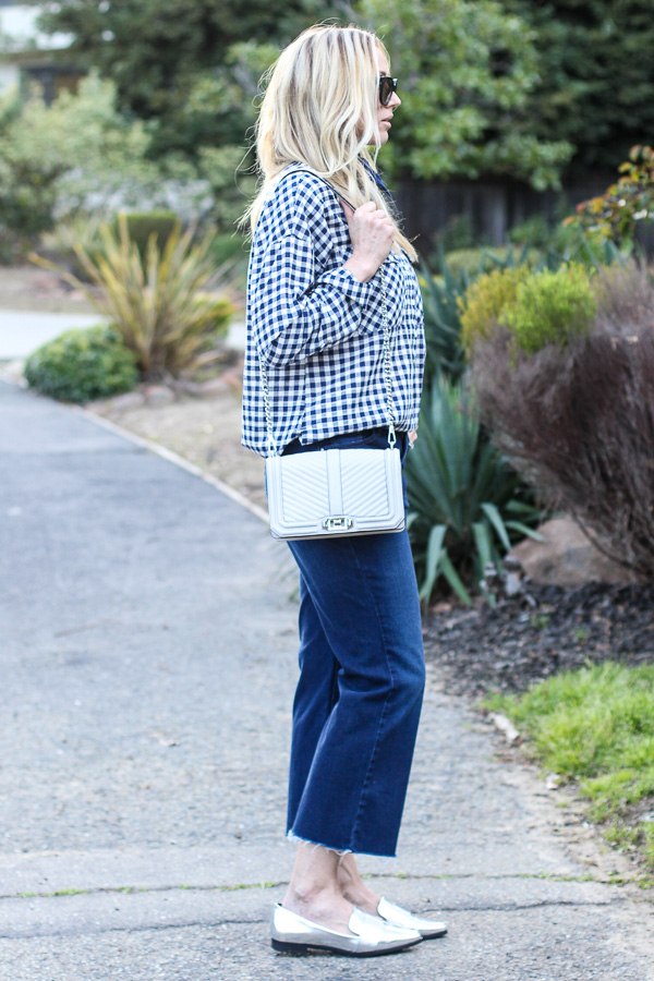 cropped denim flare jeans silver loafers gingham top