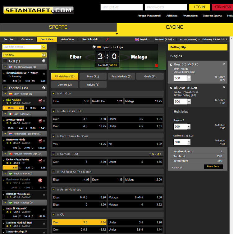 Setantabet Live Betting Offers