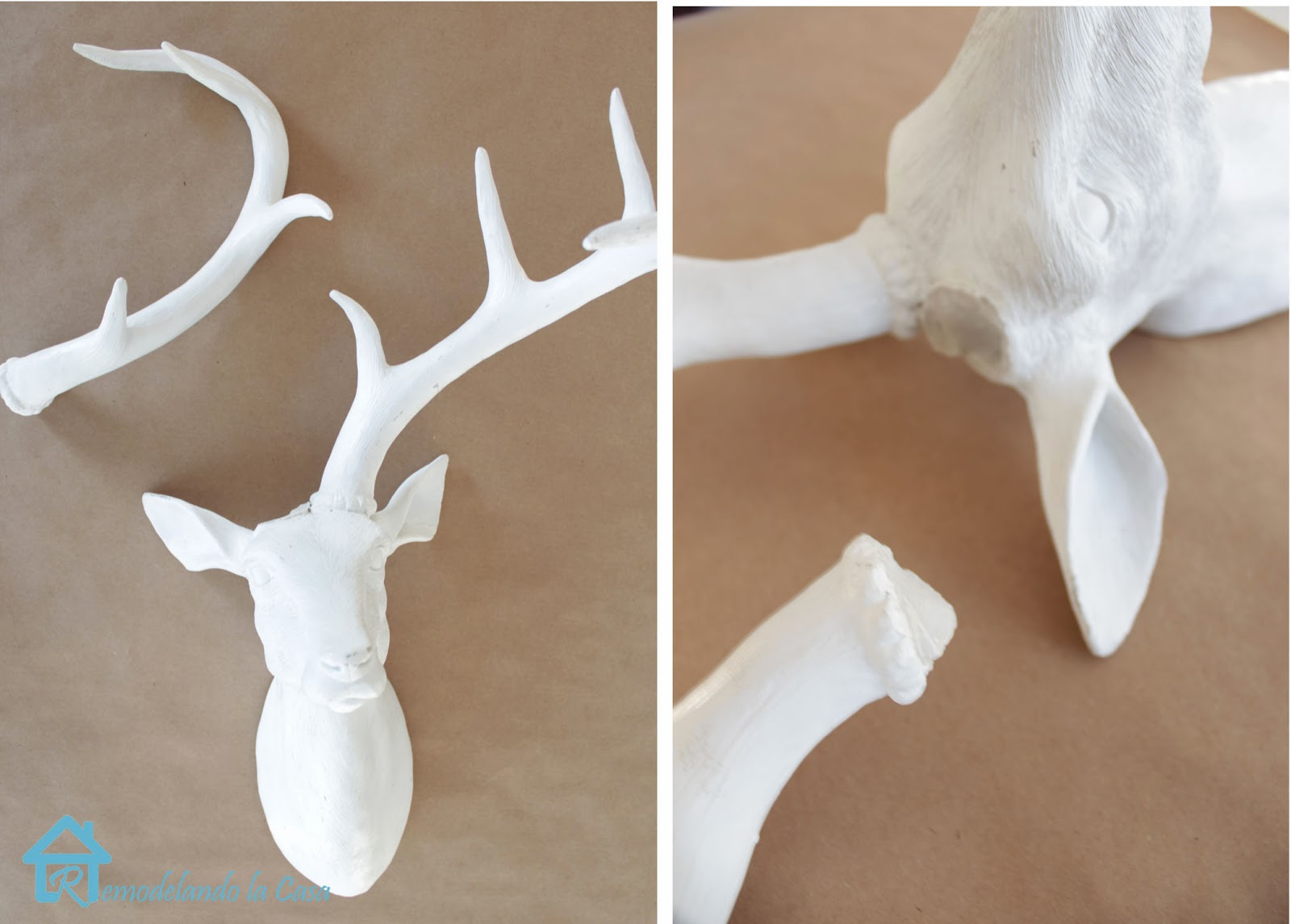broken antler on deer figure - stag