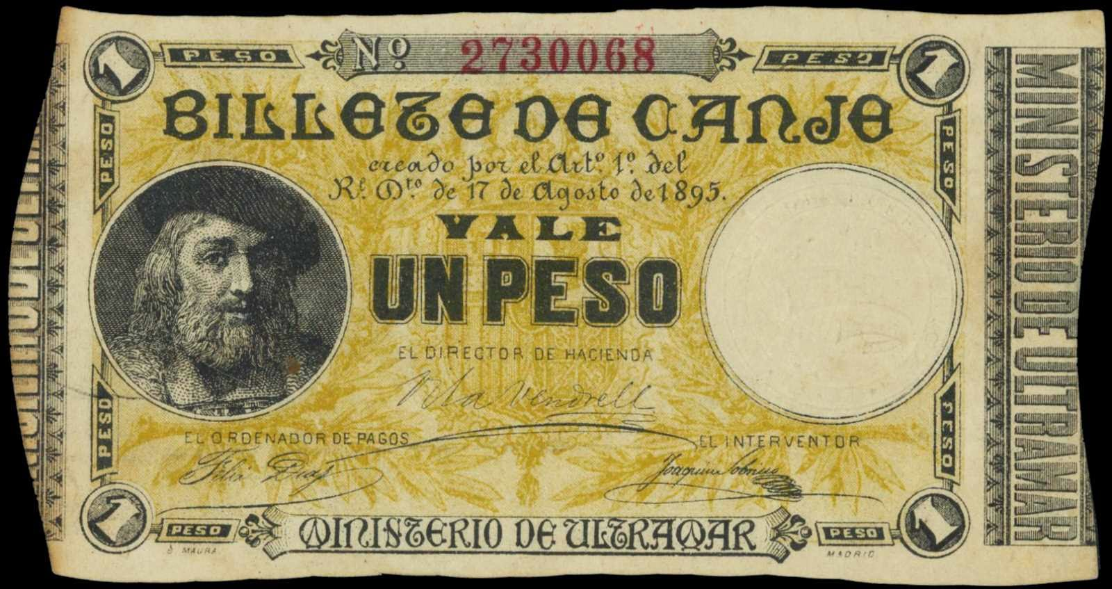 Puerto Rico 1 Peso Exchange Note 1895 Billete De Canje