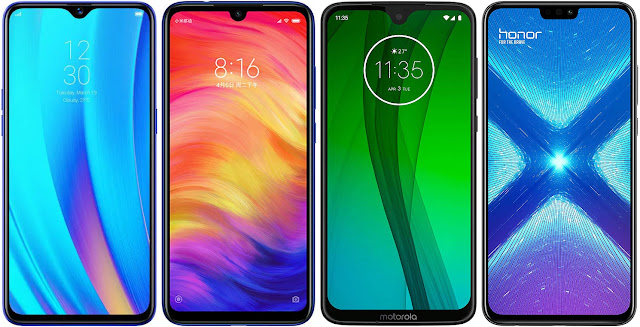 Realme 3 Pro 64 GB vs Xiaomi Redmi Note 7 64G vs Motorola Moto G7 vs Honor 8X