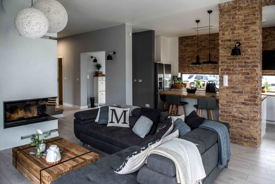wystrój wnętrz, wnętrza, urządzanie mieszkania, dom, home decor, dekoracje, aranżacje, styl skandynawski, scandinavian style, szarości, szary, grey, czerwona cegła, otwarta przestrzeń, salon, pokój dzienny, living room